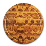 Proteak Teak Cutting Board Circle 18-by-2-Inch with Juice Canal, End Grain